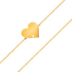 Bransoletka z żółtego 585 złota - błyszczący cienki łańcuszek, zawieszka - płaskie serduszko