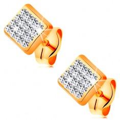 Kolczyki z żółtego 14K złota - kwadrat wyłożony bezbarwnymi kryształkami Swarovski