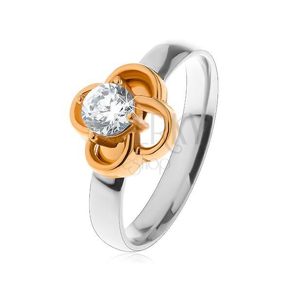 Stalowy pierścionek w srebrnym odcieniu, kwiatek złotego koloru z bezbarwną cyrkonią