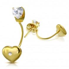 Stalowe kolczyki złotego koloru, bezbarwne serduszko i serce z cyrkonią
