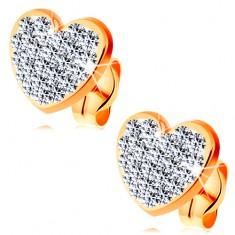 Kolczyki z żółtego 585 złota - bezbarwne błyszczące serce ozdobione kryształkami Swarovski