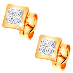 Kolczyki z dwukolorowego 14K złota - małe kwadraty ozdobione bezbarwnymi cyrkoniami