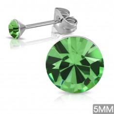 Kolczyki wkręty ze stali chirurgicznej, okrągła cyrkonia w zielonym odcieniu