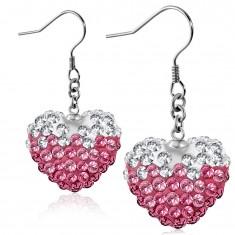 Różowo-białe stalowe kolczyki, błyszczące serce z bezbarwnymi i różowymi cyrkoniami, bigle
