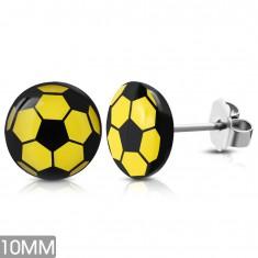 Okrągłe kolczyki ze stali chirurgicznej, żółto-czarna piłka, wkręty