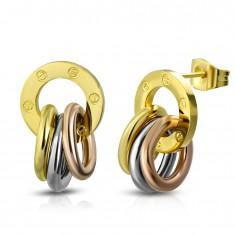 Kolczyki ze stali 316L, lśniąca obręcz i pierścień złotego, srebrnego i miedzianego koloru