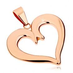 Stalowa zawieszka w miedzianym odcieniu, kontur symetrycznego serca, lśniąca powierzchnia
