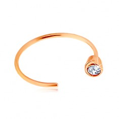 Złoty 14K piercing do nosa - różowe złoto, lśniący krążek zakończony bezbarwną cyrkonią