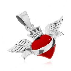 Pierścionek ze srebra 925, czerwone serce ze wstążką, koroną i skrzydłami, patyna