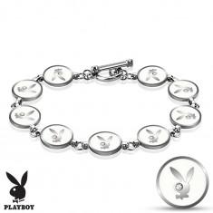 Stalowa bransoletka srebrnego koloru, białe kółka z zajączkiem Playboy, cyrkonie