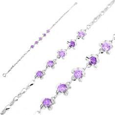 Bransoletka ze srebra 925, lśniące ogniwa - pętelki, kwiatki z fioletowymi cyrkoniami