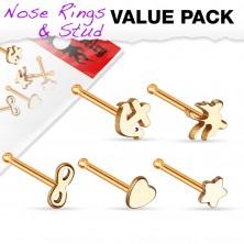 Zestaw pięciu stalowych piercingów do nosa - ósemka, kotwica, gwiazda, motyl i serce