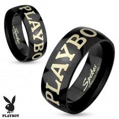 Stalowy pierścionek czarnego koloru, napis PLAYBOY w srebrnym odcieniu, 6 mm