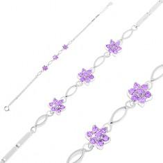 Srebrna bransoletka 925, lśniące kanciaste ogniwa, ziarnka i fioletowe cyrkoniowe kwiatki