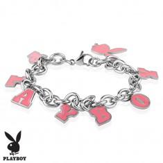 Stalowa bransoletka srebrnego koloru, różowe zawieszki - zajączek i napis PLAYBOY