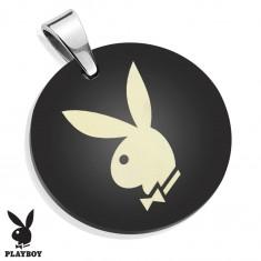 Zawieszka ze stali chirurgicznej, lśniące czarne koło z zajączkiem Playboya