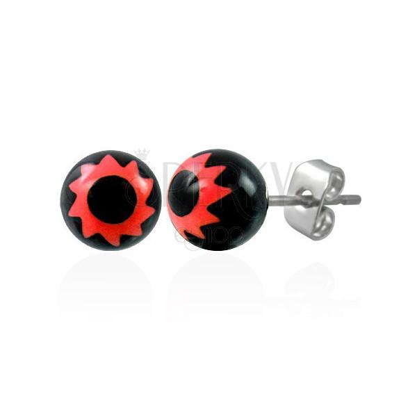 Czarne stalowe kulki - znak czerwony kwiatek
