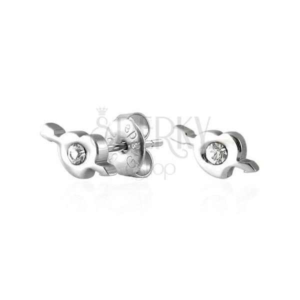 Stalowe kolczyki serduszko i strzała Amora z cyrkonią