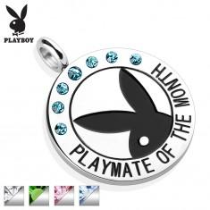 Stalowa okrągła zawieszka srebrnego koloru, czarny zajączek Playboy, cyrkonie, napis