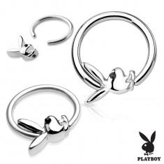 Piercing krążek ze stali chirurgicznej srebrnego koloru z zajączkiem Playboy