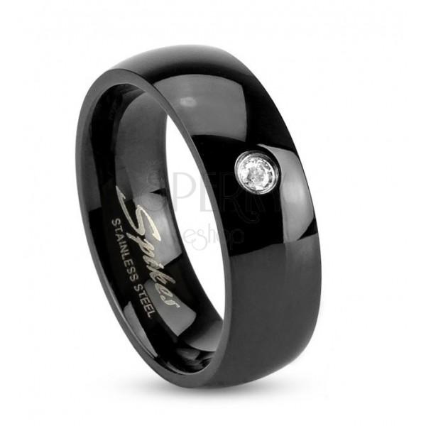 Czarny stalowy pierścionek, lśniące zaokrąglone ramiona, bezbarwna cyrkonia, 6 mm