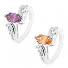 Błyszczący pierścionek srebrnego koloru, barwne oszlifowane ziarnko, zagięte ramiona