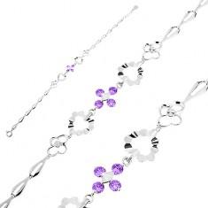 Srebrna 925 bransoletka, fioletowe cyrkonie, serca, kwiatki i łezkowe ogniwa