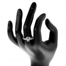 Zaręczynowy pierścionek, srebro 925, bezbarwna cyrkonia i błyszczące ramiona, listki
