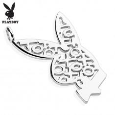 Zawieszka ze stali chirurgicznej srebrnego koloru, zajączek Playboy, kółko i krzyżyk