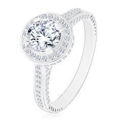 Srebrny 925 pierścionek błyszcząca okrągła cyrkonia bezbarwnego koloru w błyszczacym kółku