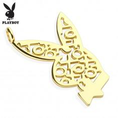 Stalowa zawieszka złotego koloru, zajączek Playboy, wzór z krzyżyków i kółek