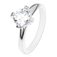 Zaręczynowy pierścionek ze srebra 925, podwyższona okrągła cyrkonia bezbarwnego koloru