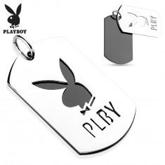 Zawieszka ze stali 316L, dwie lśniące blaszki, zajączek Playboy, litery PLBY