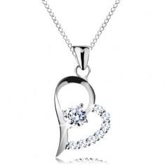 Srebrny naszyjnik 925, bezbarwna cyrkonia w asymetrycznym konturze serca, łańcuszek