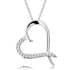 Naszyjnik ze srebra 925, łańcuszek i zarys serca z cyrkoniową połową