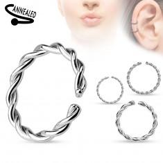 Piercing do nosa lub ucha, stal chirurgiczna, spiralnie zakręcony krążek