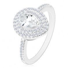 Srebrny zaręczynowy pierścionek 925, bezbarwna oszlifowana kropelka w podwójnym konturze