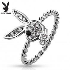 Pierścionek srebrnego koloru, zajączek Playboy z bezbarwnymi cyrkoniami i czarnym oczkiem