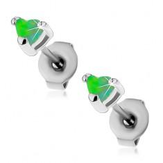 Stalowe kolczyki srebrnego koloru, serduszka zielonego koloru z syntetycznego opalu, 3 mm