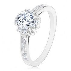 Zaręczynowy pierścionek - srebro 925, błyszcząca bezbarwna cyrkonia, pary drobnych cyrkonii