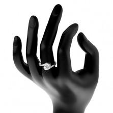 Pierścionek ze srebra 925, lśniące ramiona z zagiętymi końcami, okrągła bezbarwna cyrkonia