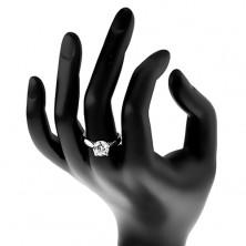 Zaręczynowy pierścionek - srebro 925, lśniące zaokrąglone ramiona, duża bezbarwna cyrkonia