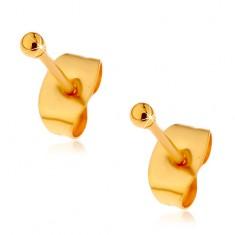 Stalowe kolczyki złotego koloru z zapięciem na sztyft, drobne lśniące kuleczki, 2 mm
