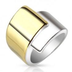 Stalowy pierścionek, szerokie nałożone na siebie ramiona złotego i srebrnego koloru
