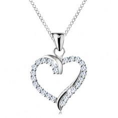 Naszyjnik ze srebra 925, cyrkoniowy zarys serca z lśniącymi liniami, cienki łańcuszek