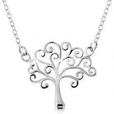 Srebrny naszyjnik 925, cienki łańcuszek i zawieszka - lśniące drzewo życia