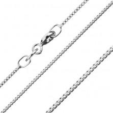 Srebrny łańcuszek 925, gęsto połączone lśniące kanciaste ogniwa, 1,1 mm