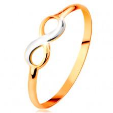 Złoty pierścionek 585 - dwukolorowy lśniący symbol nieskończoności, wąskie gładkie ramiona