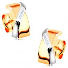 Dwukolorowe kolczyki z 14K złota - nałożone na siebie łuki, bezbarwne cyrkonie