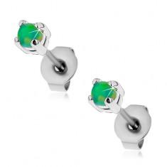 Stalowe kolczyki wkręty, okrągły syntetyczny opal zielonego koloru, 3 mm
